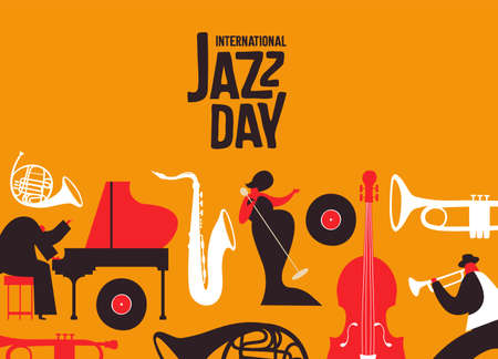International Jazz Day poster illustration of retro style music instruments and band people for musical concert or festival event. Illusztráció