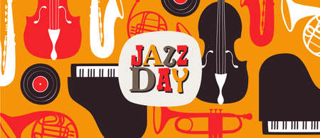 Jazz Day banner illustration for music festival event or concert. Retro background with vintage style band instruments.
