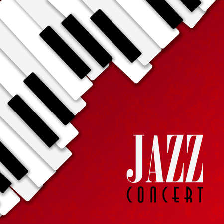 Jazz concert poster illustration of piano keys on red color background for live music invitation or musical festival.