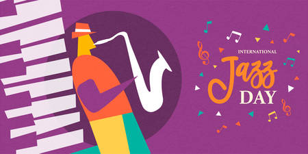 International Jazz Day poster illustration of man playing saxophone musical instrument in concert or festival event.