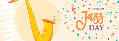 International Jazz Day web banner illustration of saxophone and colorful music notes for concert or festival event celebration.