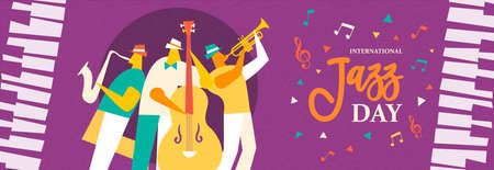 International Jazz Day banner illustration of live music band playing diverse musical instrument in concert or festival event. Ilustração
