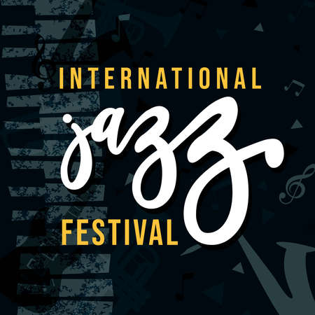 International jazz festival poster illustration for special music event. Grunge texture background with piano and musical notes.
