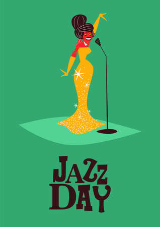 Jazz Day poster illustration of retro mid century style woman singer for special concert or music festival.