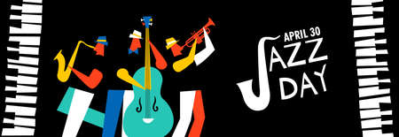 Jazz Day banner illustration for music celebration event. Live band playing saxophone, trumpet and double bass with piano keys.