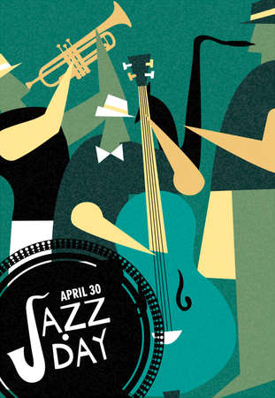 April 30 Jazz Day retro poster illustration of live music band playing diverse musical instrument in concert or festival event. Illustration