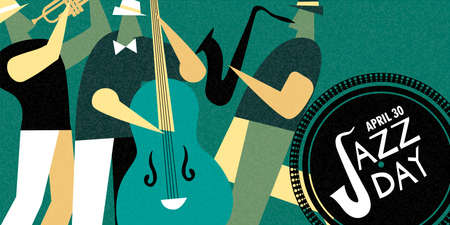 April 30 Jazz Day retro banner illustration of live music band playing diverse musical instrument in concert or festival event. Illustration