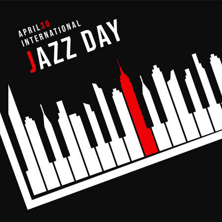 International Jazz Day concept illustration for music celebration event. Piano keys as city skyline silhouette at night.
