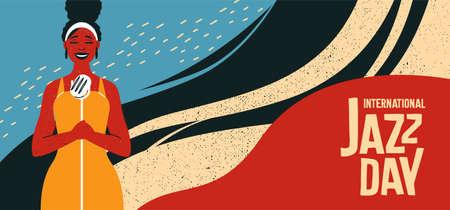 Illustration de la bannière rétro de la Journée internationale du jazz d'une chanteuse noire avec un fond abstrait coloré pour un concert de musique. Vecteurs