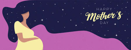 Happy Mothers Day banner illustration. Pregnant woman with long hair for motherhood concept or mother love. Ilustrace