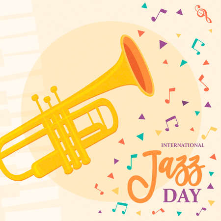 International Jazz Day poster of trumpet and colorful music notes for concert or festival event celebration.