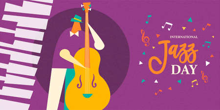 International Jazz Day illustration of man playing double bass musical instrument in concert or festival event.