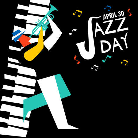 Jazz Day illustration for music celebration event. Man playing trumpet with piano key background.