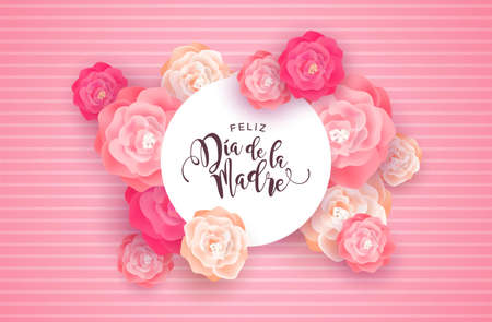Mothers Day card illustration for special mom holiday in spanish language. Beautiful spring rose flowers on pink background with paper sign quote.