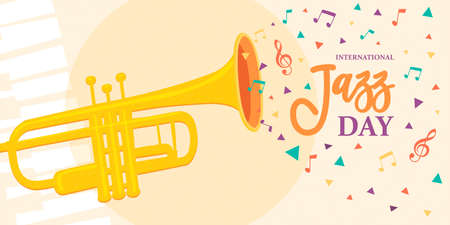 International Jazz Day illustration of trumpet and colorful music notes for concert or festival event celebration.