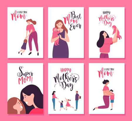 Happy Mothers Day greeting card set of cute mother illustrations. Includes pregnant woman, newborn baby and family surprise with special text quotes.
