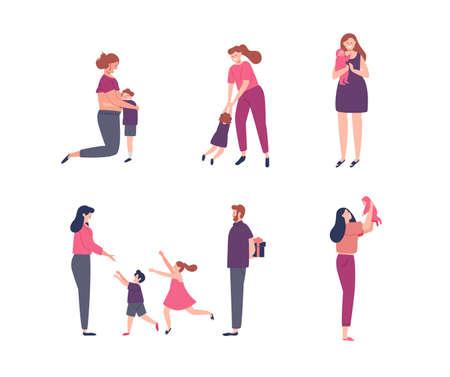 Ilustración de mujeres y niños para concepto de maternidad, embarazo, vacaciones familiares o día de la madre.