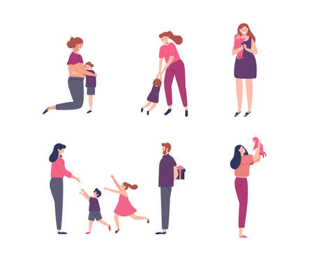 Women and children illustration set for motherhood concept, pregnancy, family holiday or mothers day.