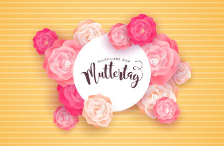 Mothers Day card illustration for special mom holiday in german language. Beautiful spring rose flowers on pink background with paper sign quote.