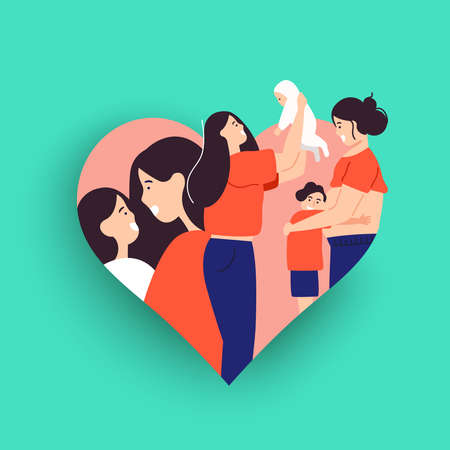 Mothers Day card illustration for motherhood or single parent concept. Mom with children, baby and pregnant mother inside heart shape.