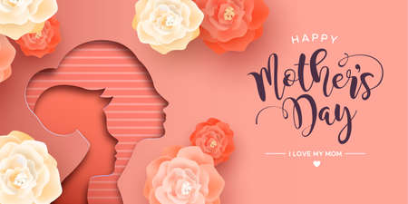 Mothers Day card illustration in papercut style for best mom. Paper cutout mother with child and realistic pink flowers. Standard-Bild - 122042411