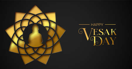 Happy Vesak Day illustration for hindu holiday celebration. Gold paper cut buddha lotus flower on black color background.