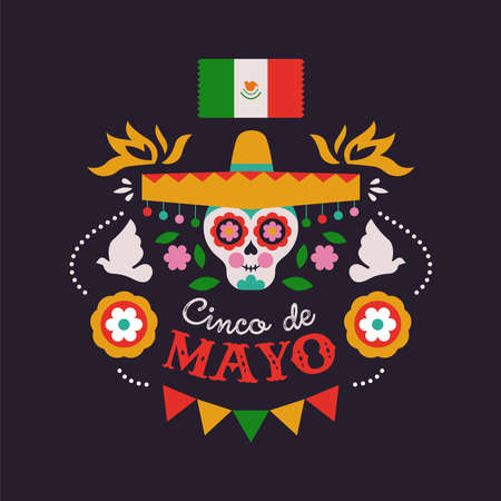 Happy Cinco de Mayo greeting card illustration for Mexican independence holiday celebration. Cartoon sugar skull with mariachi hat and traditional culture decoration.