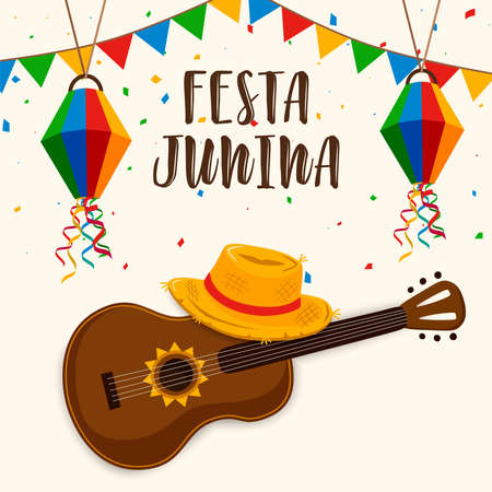 Happy Festa Junina greeting card illustration for traditional brazilian festival celebration. Colorful guitar and straw hat with text quote.
