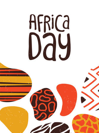 Happy Africa Day greeting card illustration with traditional tribal hand drawn art for african freedom holiday. Foto de archivo - 130838422