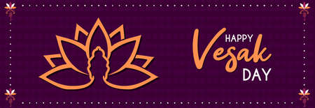 Happy Vesak Day web banner illustration for buddhism birth celebration. Buddha silhouette on lotus flower symbol.