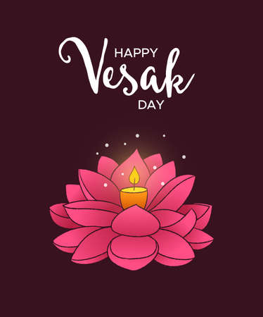 Happy Vesak Day illustration for asian buddha birth celebration. Hand drawn pink lotus flower with candle inside. Illustration