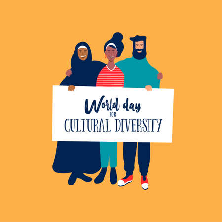 World Day for cultural diversity event greeting card of diverse friend group. Social help and support concept.
