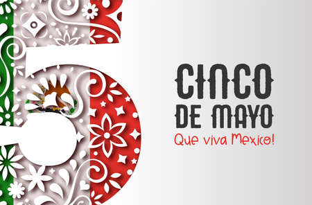 Cinco de Mayo greeting card illustration for mexico independence holiday. 3D papercut number 5 made of traditional mexican paper art with country flag background.