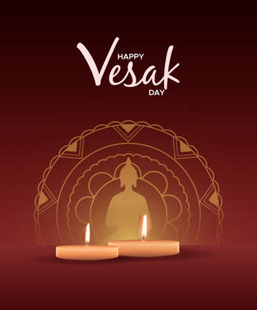 Happy Vesak Day illustration for hindu holiday celebration. Realistic candles on red background with gold buddha statue mandala.