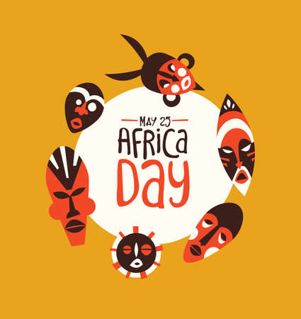 May 25 Africa Day greeting card of colorful tribal african masks. Traditional ethnic art illustration for freedom holiday. Banque d'images - 130838432