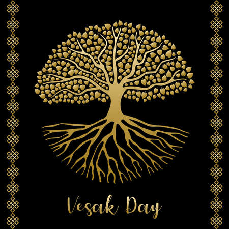Happy Vesak Day card illustration. Gold bodhi tree with roots and leaves for buddha birth celebration.