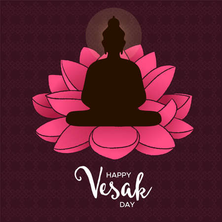 Happy Vesak Day card illustration for hindu celebration holiday. Buddha statue silhouette on pink lotus flower.