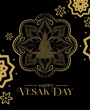Happy Vesak Day illustration for traditional hindu celebration. Gold statue with lotus flower decoration.
