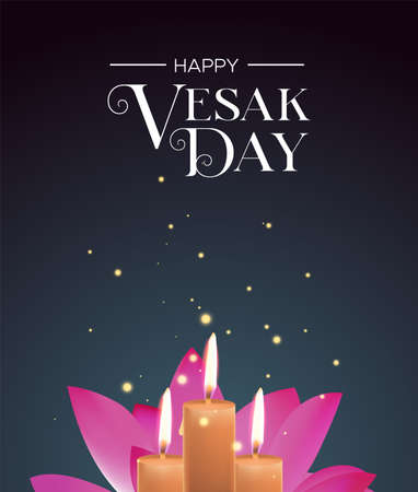 Vesak Day greeting card illustration for buddha birth holiday. Realistic candles and lotus flower on night background.