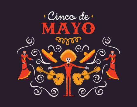 Ilustración del Cinco de Mayo para la celebración de la independencia mexicana. Fondo de dibujos animados de la decoración de la cultura tradicional de México. Incluye mariachi muerto, sombrero grande, guitarra y esqueleto.