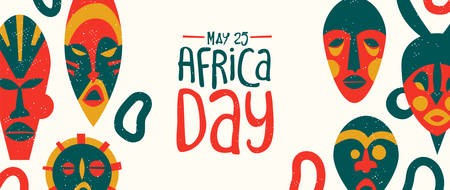May 25 Africa Day web banner of colorful tribal african masks. Traditional ethnic art illustration for freedom holiday. Banque d'images - 130838435