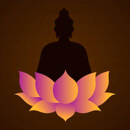 Vesak Day card for buddha birth celebration holiday. Lotus flower and statue silhouette illustration.