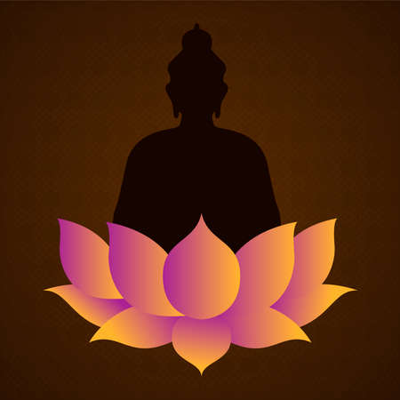 Vesak Day card for buddha birth celebration holiday. Lotus flower and statue silhouette illustration.