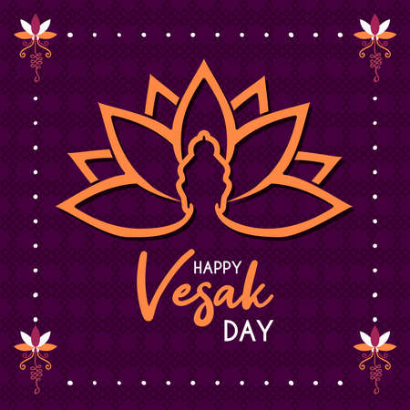 Happy Vesak Day card illustration for buddhism birth celebration. Buddha silhouette on lotus flower symbol. Illustration