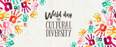 Ilustración de banner web del Día de la Diversidad Cultural de coloridas huellas de manos humanas para el apoyo social y la unidad.