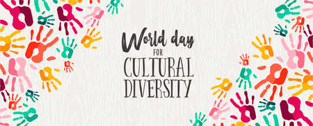 Cultural Diversity Day web banner illustration of colorful human hand prints for social support and unity. Illustration