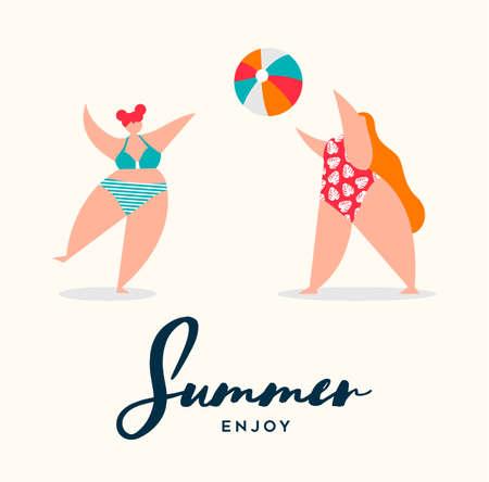 Summer season vacation illustration. Curvy women in colorful bikini playing with beach ball.