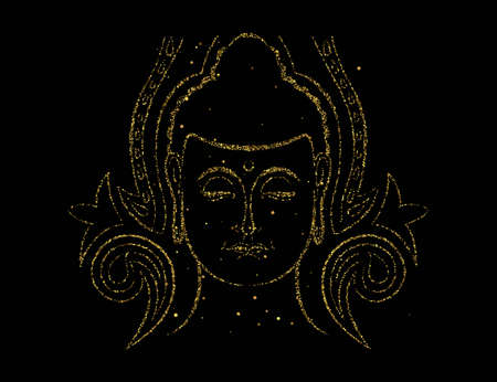 Buddha face in gold color on isolated black background. Golden glitter buddhist religion art for zen concept or asian culture event.