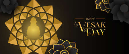 Happy Vesak Day banner for hindu holiday celebration. Gold buddha lotus flower and floral decoration background.
