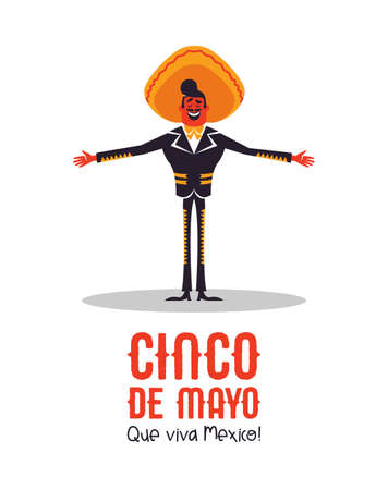 Happy Cinco de Mayo greeting card illustration for Mexican independence holiday celebration. Cartoon mariachi man singer with big hat.